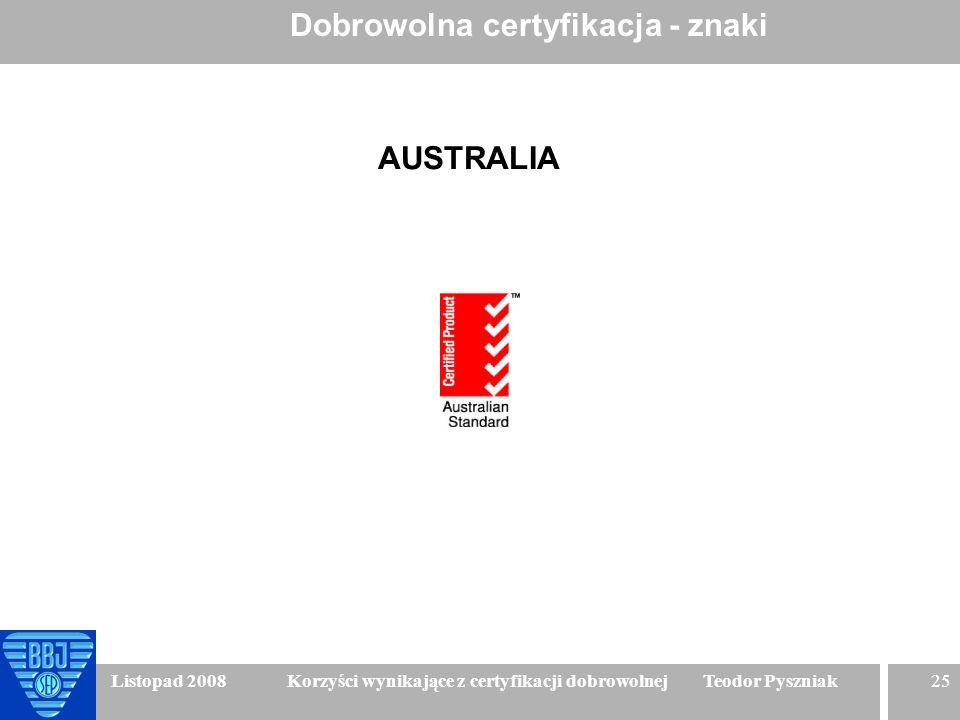 25 Listopad 2008 Korzyści wynikające z certyfikacji dobrowolnej Teodor Pyszniak Dobrowolna certyfikacja - znaki AUSTRALIA