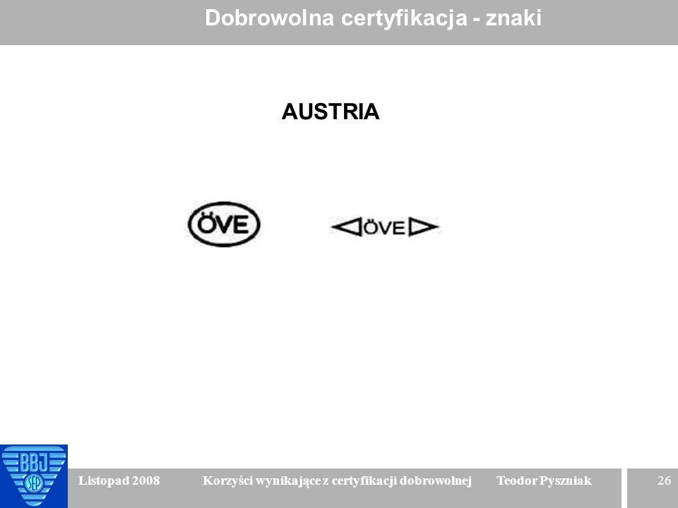 26 Listopad 2008 Korzyści wynikające z certyfikacji dobrowolnej Teodor Pyszniak Dobrowolna certyfikacja - znaki AUSTRIA