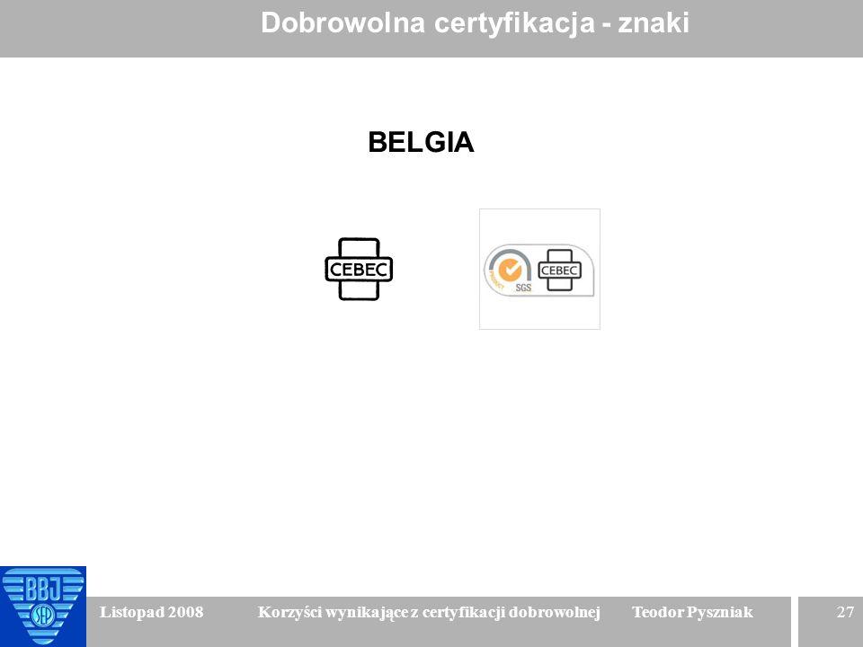 27 Listopad 2008 Korzyści wynikające z certyfikacji dobrowolnej Teodor Pyszniak Dobrowolna certyfikacja - znaki BELGIA