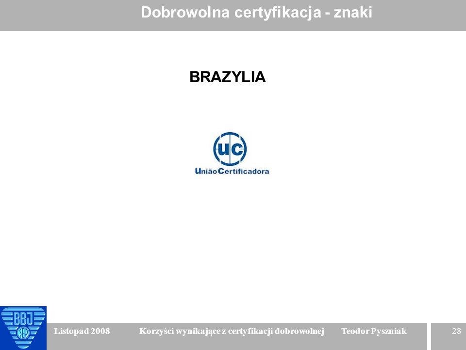 28 Listopad 2008 Korzyści wynikające z certyfikacji dobrowolnej Teodor Pyszniak Dobrowolna certyfikacja - znaki BRAZYLIA