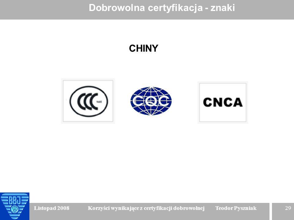 29 Listopad 2008 Korzyści wynikające z certyfikacji dobrowolnej Teodor Pyszniak Dobrowolna certyfikacja - znaki CHINY