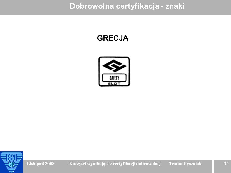 34 Listopad 2008 Korzyści wynikające z certyfikacji dobrowolnej Teodor Pyszniak Dobrowolna certyfikacja - znaki GRECJA