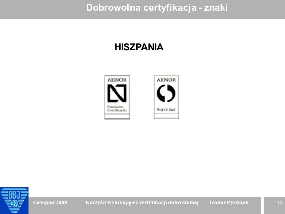 35 Listopad 2008 Korzyści wynikające z certyfikacji dobrowolnej Teodor Pyszniak Dobrowolna certyfikacja - znaki HISZPANIA