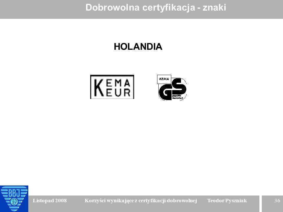 36 Listopad 2008 Korzyści wynikające z certyfikacji dobrowolnej Teodor Pyszniak Dobrowolna certyfikacja - znaki HOLANDIA
