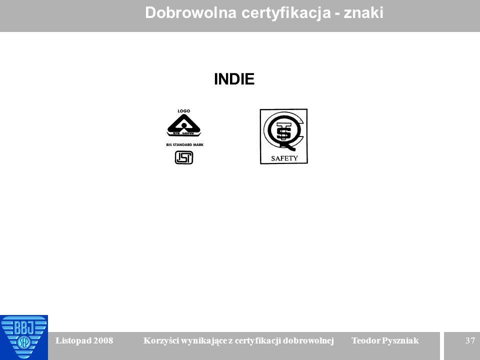 37 Listopad 2008 Korzyści wynikające z certyfikacji dobrowolnej Teodor Pyszniak Dobrowolna certyfikacja - znaki INDIE