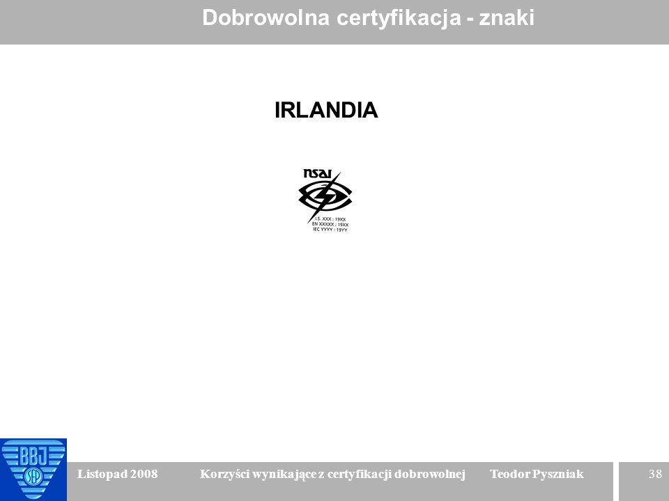 38 Listopad 2008 Korzyści wynikające z certyfikacji dobrowolnej Teodor Pyszniak Dobrowolna certyfikacja - znaki IRLANDIA