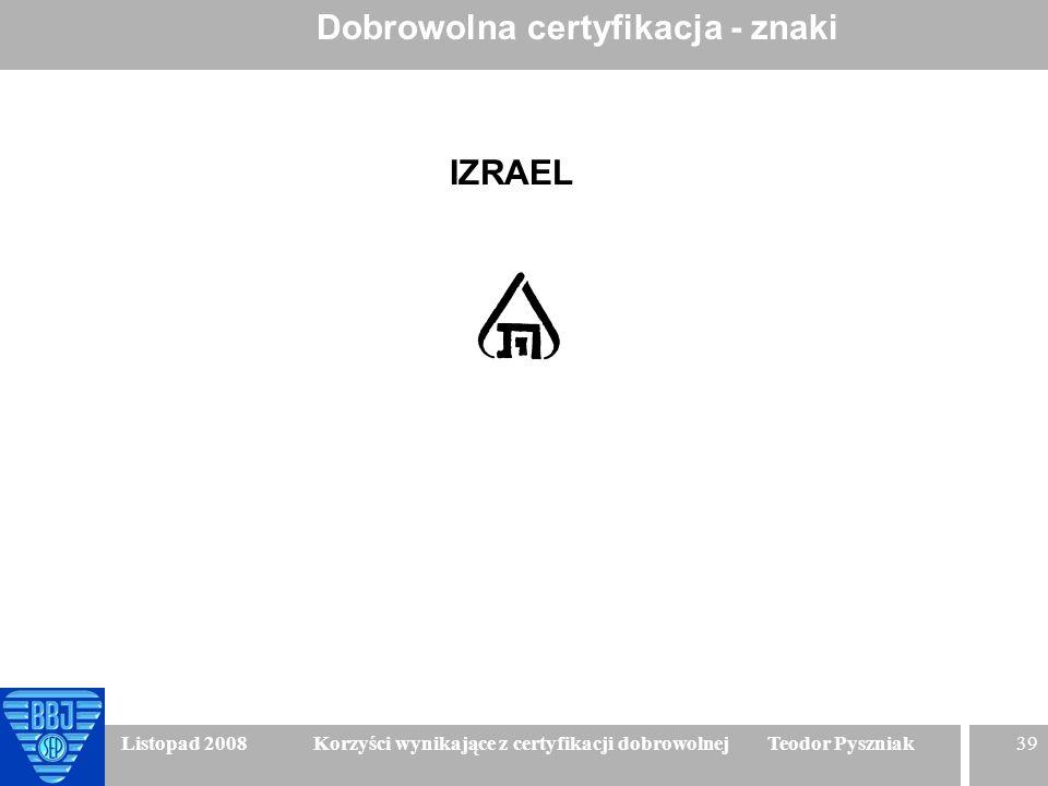 39 Listopad 2008 Korzyści wynikające z certyfikacji dobrowolnej Teodor Pyszniak Dobrowolna certyfikacja - znaki IZRAEL