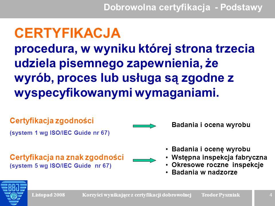 4 Listopad 2008 Korzyści wynikające z certyfikacji dobrowolnej Teodor Pyszniak CERTYFIKACJA procedura, w wyniku której strona trzecia udziela pisemneg