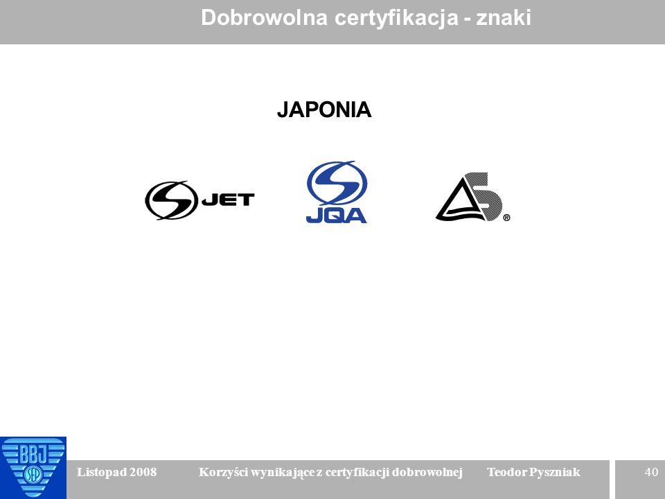 40 Listopad 2008 Korzyści wynikające z certyfikacji dobrowolnej Teodor Pyszniak Dobrowolna certyfikacja - znaki JAPONIA