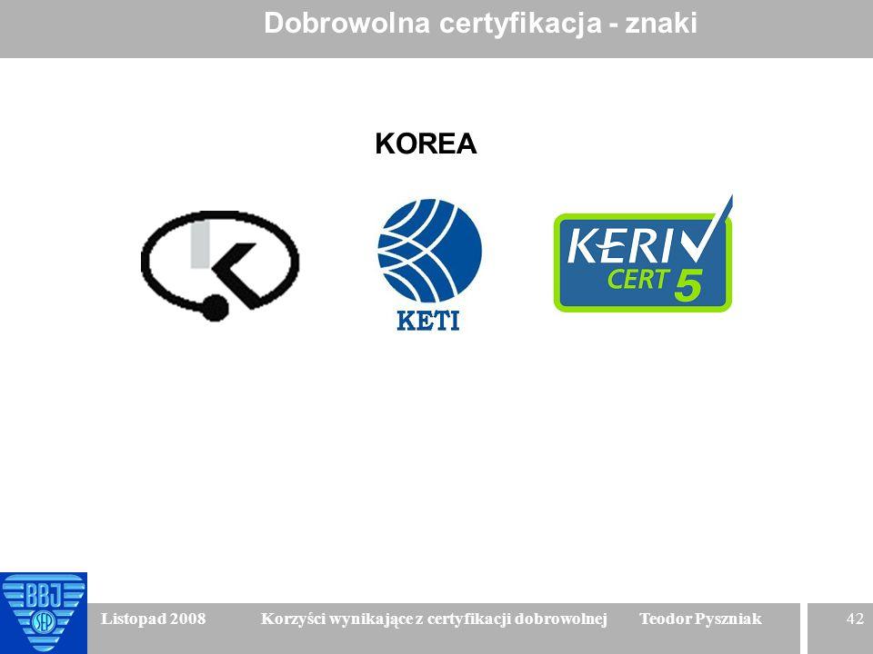 42 Listopad 2008 Korzyści wynikające z certyfikacji dobrowolnej Teodor Pyszniak Dobrowolna certyfikacja - znaki KOREA