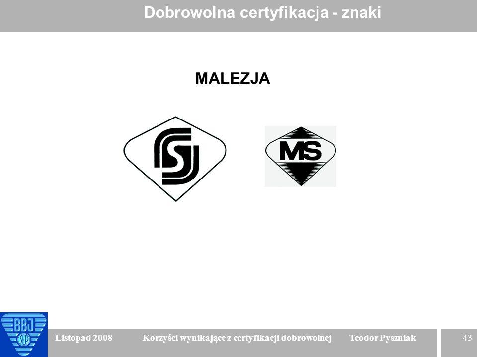 43 Listopad 2008 Korzyści wynikające z certyfikacji dobrowolnej Teodor Pyszniak Dobrowolna certyfikacja - znaki MALEZJA