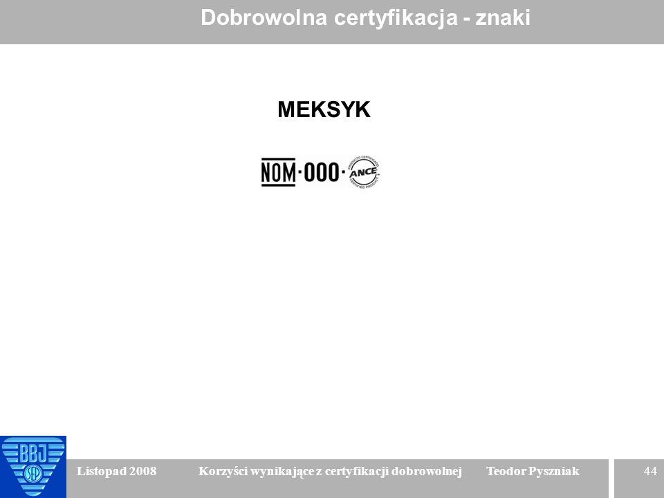 44 Listopad 2008 Korzyści wynikające z certyfikacji dobrowolnej Teodor Pyszniak Dobrowolna certyfikacja - znaki MEKSYK