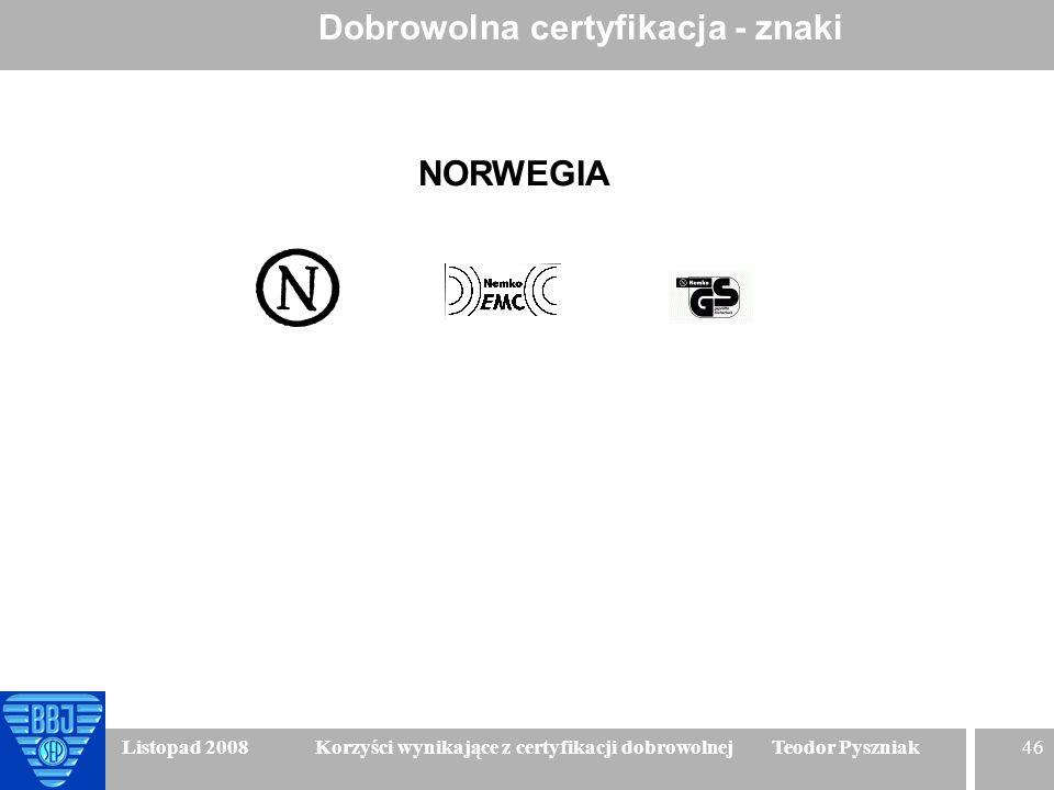 46 Listopad 2008 Korzyści wynikające z certyfikacji dobrowolnej Teodor Pyszniak Dobrowolna certyfikacja - znaki NORWEGIA