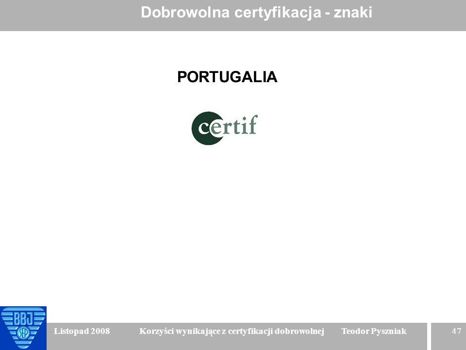 47 Listopad 2008 Korzyści wynikające z certyfikacji dobrowolnej Teodor Pyszniak Dobrowolna certyfikacja - znaki PORTUGALIA