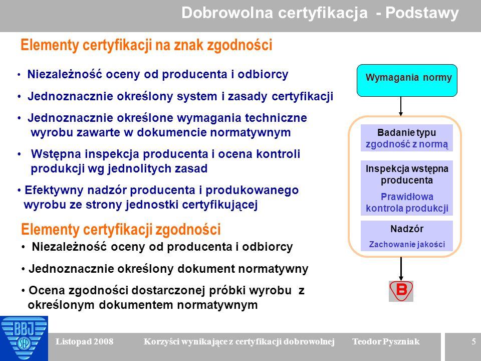 5 Listopad 2008 Korzyści wynikające z certyfikacji dobrowolnej Teodor Pyszniak Niezależność oceny od producenta i odbiorcy Jednoznacznie określony sys