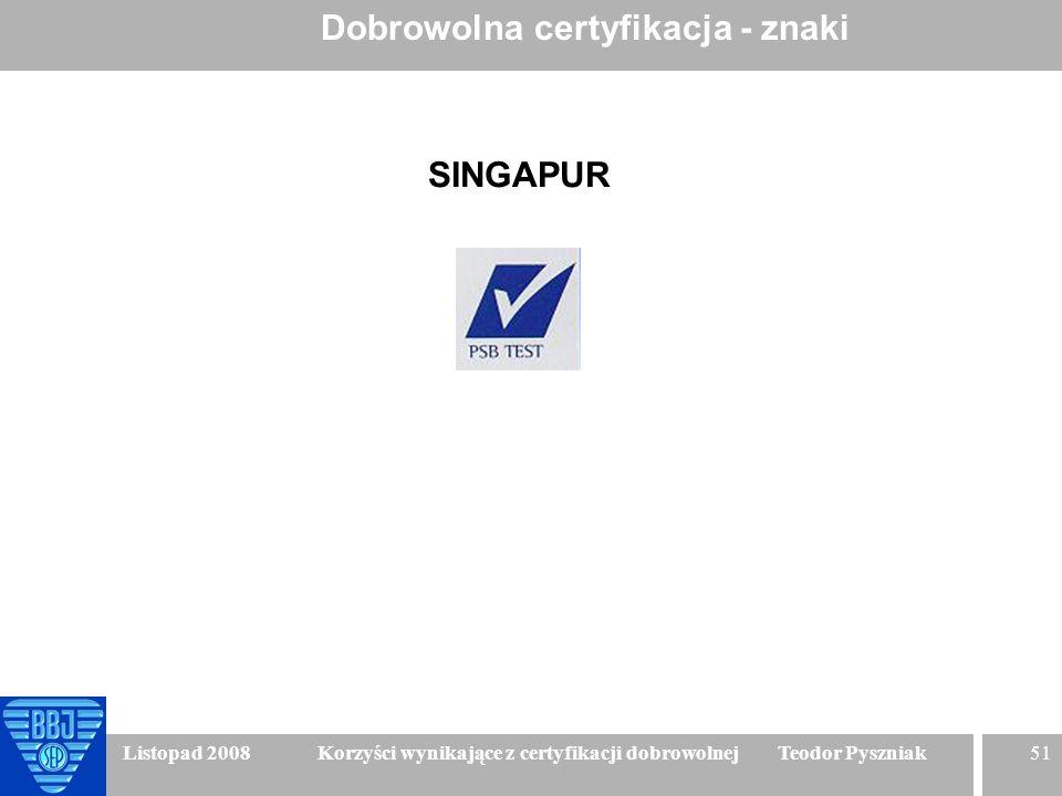 51 Listopad 2008 Korzyści wynikające z certyfikacji dobrowolnej Teodor Pyszniak Dobrowolna certyfikacja - znaki SINGAPUR