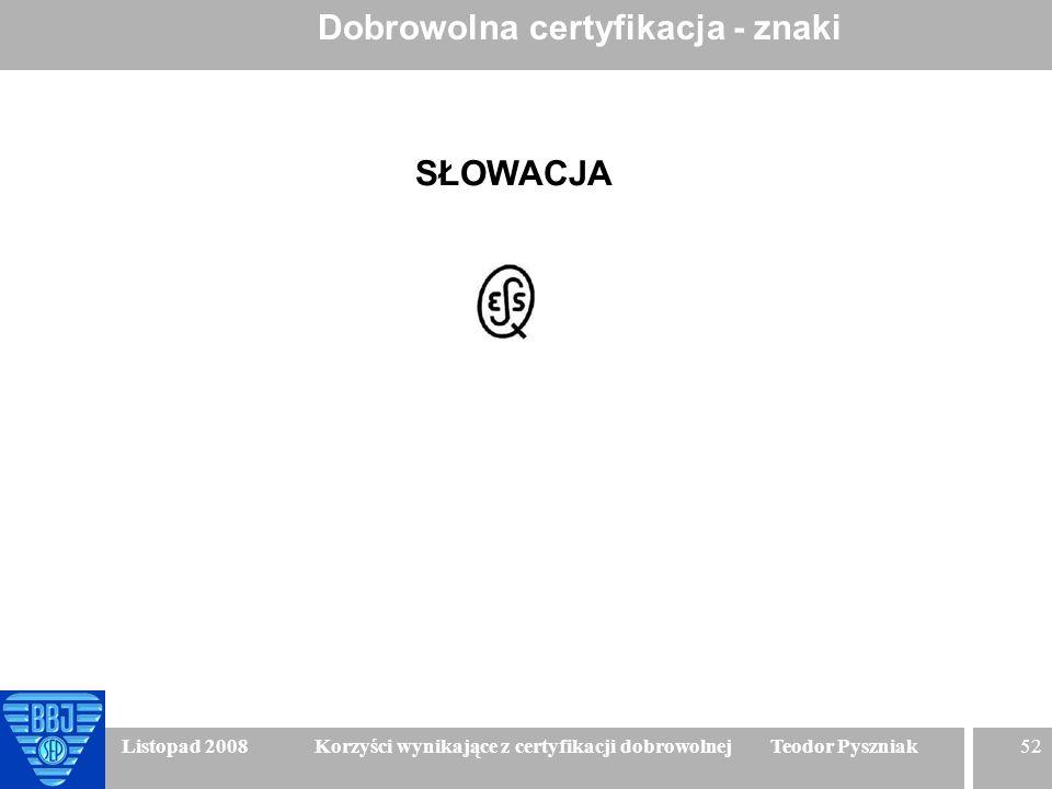 52 Listopad 2008 Korzyści wynikające z certyfikacji dobrowolnej Teodor Pyszniak Dobrowolna certyfikacja - znaki SŁOWACJA