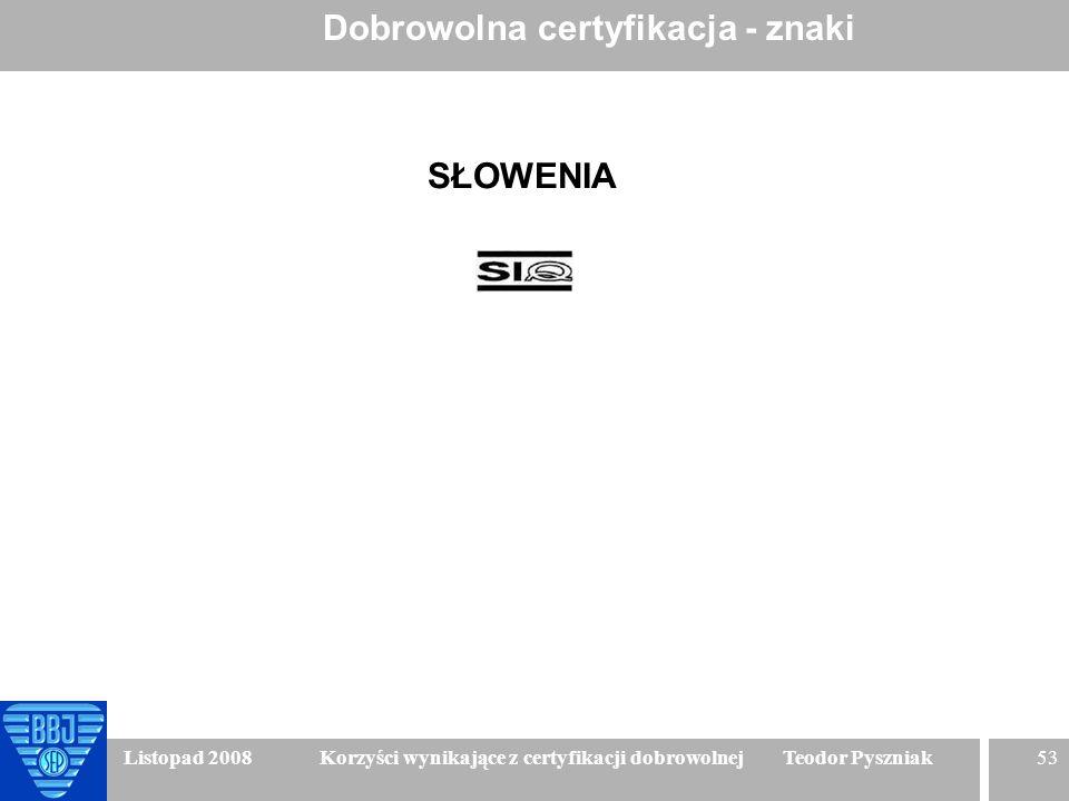 53 Listopad 2008 Korzyści wynikające z certyfikacji dobrowolnej Teodor Pyszniak Dobrowolna certyfikacja - znaki SŁOWENIA