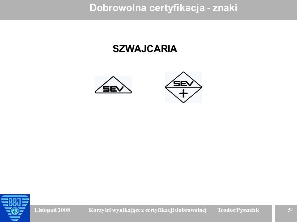 54 Listopad 2008 Korzyści wynikające z certyfikacji dobrowolnej Teodor Pyszniak Dobrowolna certyfikacja - znaki SZWAJCARIA