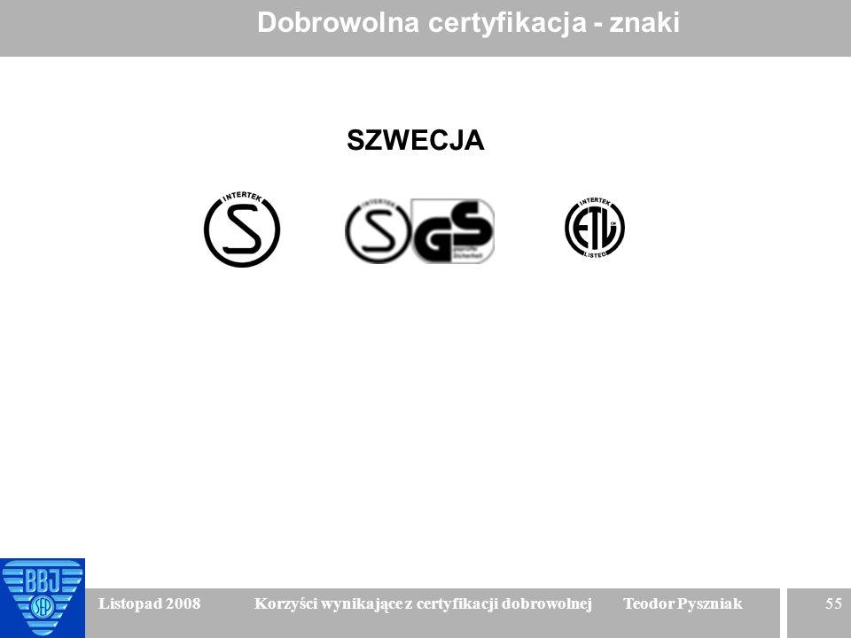 55 Listopad 2008 Korzyści wynikające z certyfikacji dobrowolnej Teodor Pyszniak Dobrowolna certyfikacja - znaki SZWECJA