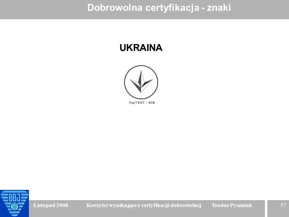 57 Listopad 2008 Korzyści wynikające z certyfikacji dobrowolnej Teodor Pyszniak Dobrowolna certyfikacja - znaki UKRAINA