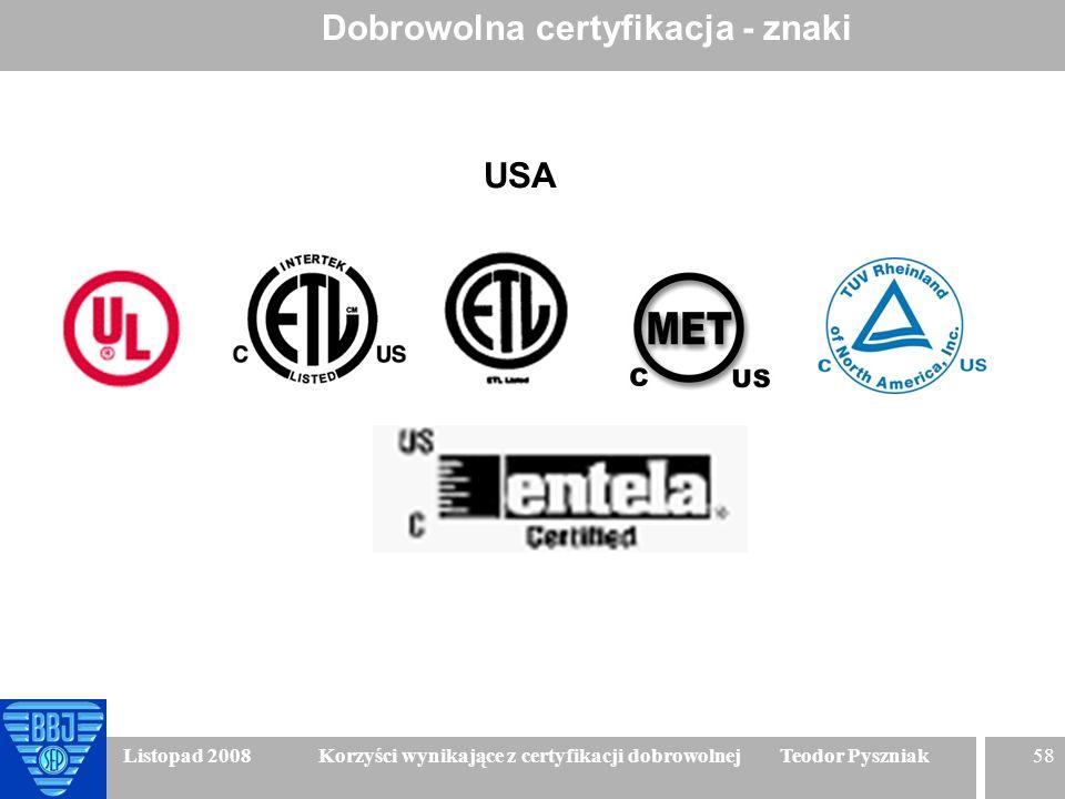 58 Listopad 2008 Korzyści wynikające z certyfikacji dobrowolnej Teodor Pyszniak Dobrowolna certyfikacja - znaki USA