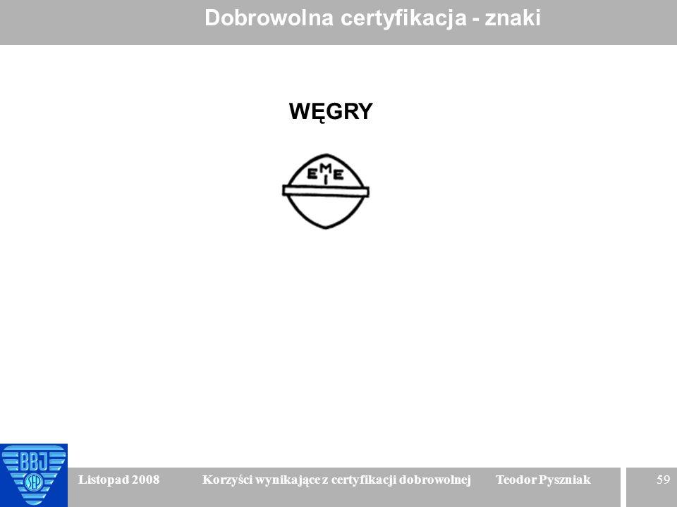 59 Listopad 2008 Korzyści wynikające z certyfikacji dobrowolnej Teodor Pyszniak Dobrowolna certyfikacja - znaki WĘGRY