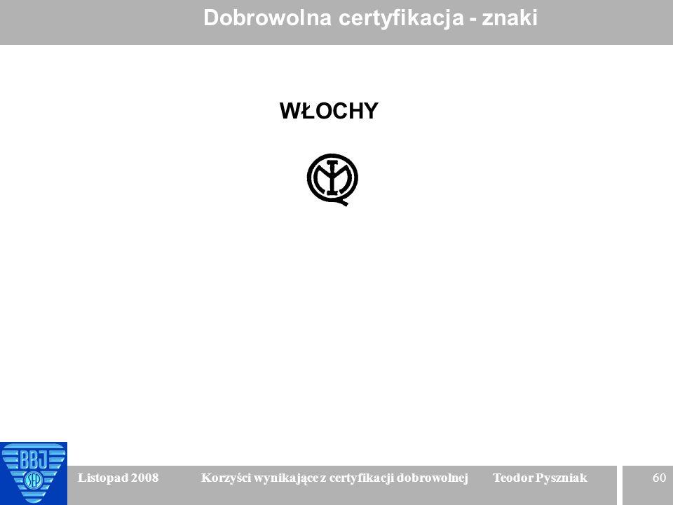 60 Listopad 2008 Korzyści wynikające z certyfikacji dobrowolnej Teodor Pyszniak Dobrowolna certyfikacja - znaki WŁOCHY