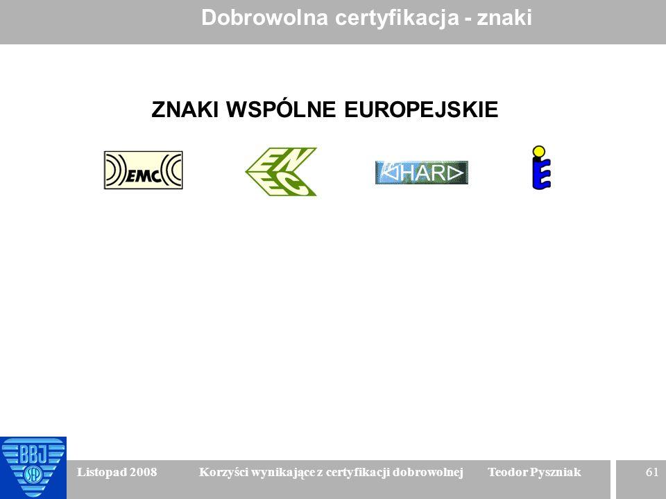 61 Listopad 2008 Korzyści wynikające z certyfikacji dobrowolnej Teodor Pyszniak Dobrowolna certyfikacja - znaki ZNAKI WSPÓLNE EUROPEJSKIE