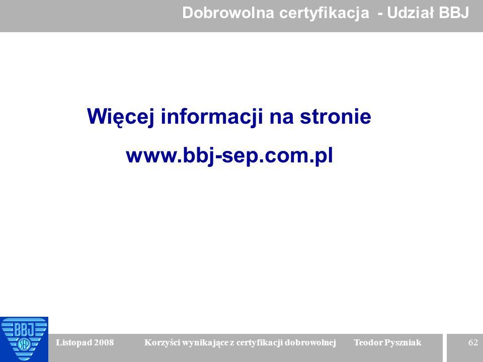 62 Listopad 2008 Korzyści wynikające z certyfikacji dobrowolnej Teodor Pyszniak Więcej informacji na stronie www.bbj-sep.com.pl Dobrowolna certyfikacj