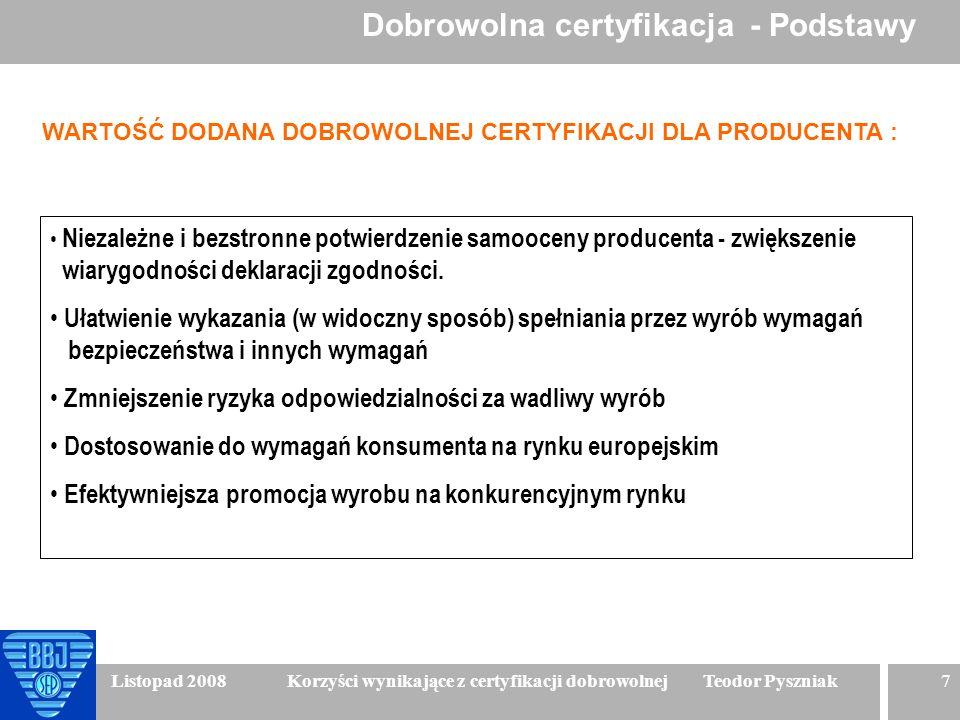 7 Listopad 2008 Korzyści wynikające z certyfikacji dobrowolnej Teodor Pyszniak WARTOŚĆ DODANA DOBROWOLNEJ CERTYFIKACJI DLA PRODUCENTA : Niezależne i b