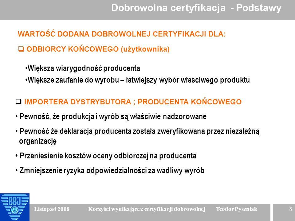 8 Listopad 2008 Korzyści wynikające z certyfikacji dobrowolnej Teodor Pyszniak WARTOŚĆ DODANA DOBROWOLNEJ CERTYFIKACJI DLA: ODBIORCY KOŃCOWEGO (użytko
