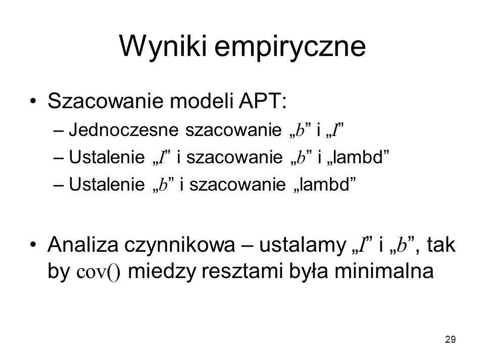 29 Wyniki empiryczne Szacowanie modeli APT: –Jednoczesne szacowanie b i I –Ustalenie I i szacowanie b i lambd –Ustalenie b i szacowanie lambd Analiza