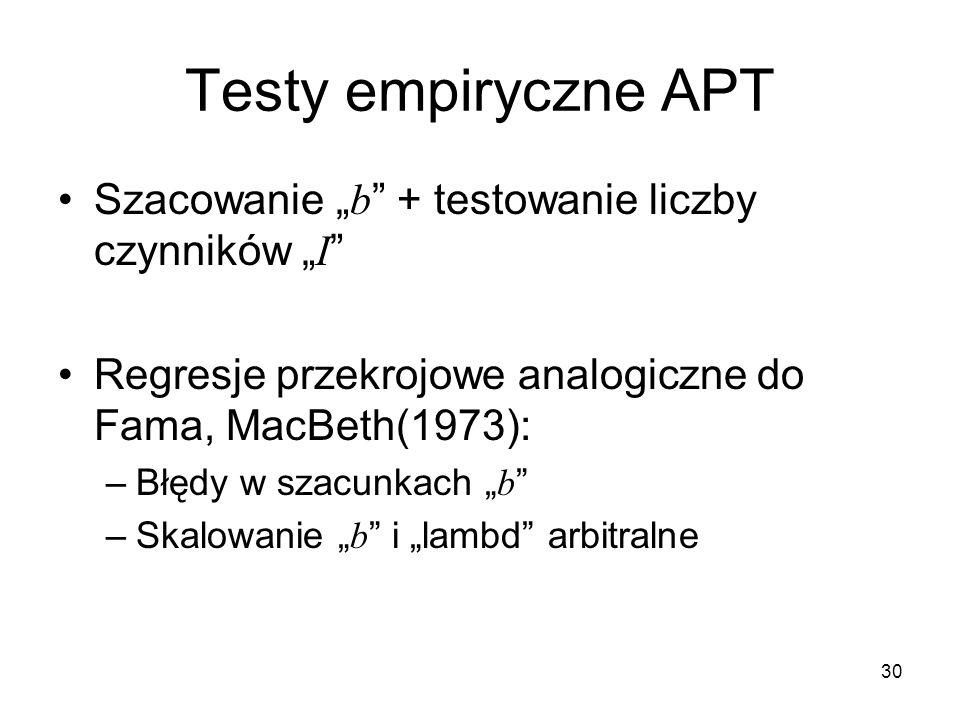30 Testy empiryczne APT Szacowanie b + testowanie liczby czynników I Regresje przekrojowe analogiczne do Fama, MacBeth(1973): –Błędy w szacunkach b –S