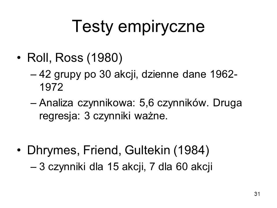 31 Testy empiryczne Roll, Ross (1980) –42 grupy po 30 akcji, dzienne dane 1962- 1972 –Analiza czynnikowa: 5,6 czynników. Druga regresja: 3 czynniki wa