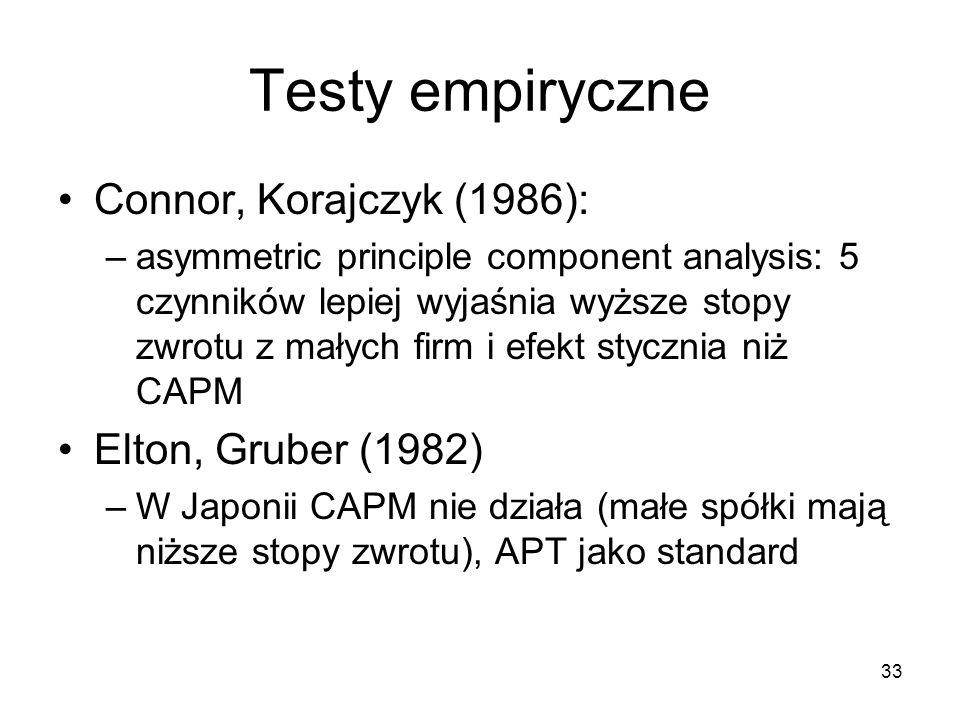 33 Testy empiryczne Connor, Korajczyk (1986): –asymmetric principle component analysis: 5 czynników lepiej wyjaśnia wyższe stopy zwrotu z małych firm