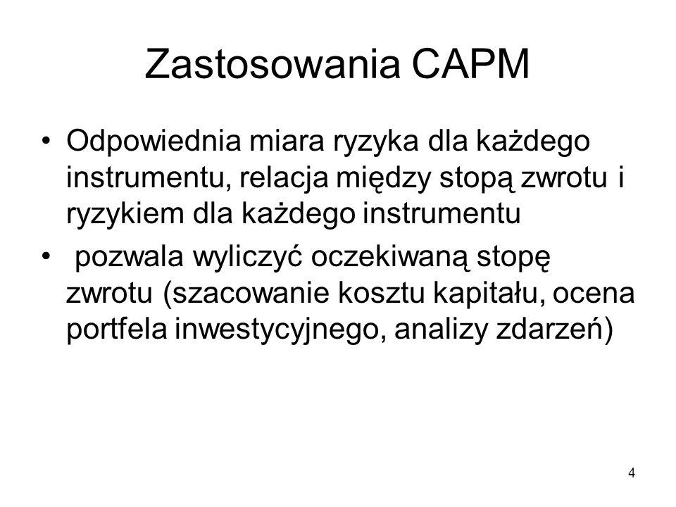 4 Zastosowania CAPM Odpowiednia miara ryzyka dla każdego instrumentu, relacja między stopą zwrotu i ryzykiem dla każdego instrumentu pozwala wyliczyć