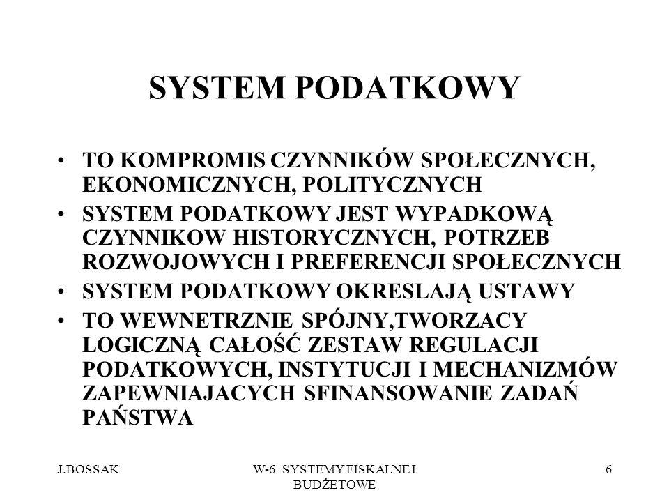 J.BOSSAKW-6 SYSTEMY FISKALNE I BUDŻETOWE 7 PRZESŁANKI BUDOWY SYSTEMU PODATKOWEGO PRZESŁANKI SPOŁECZNE, POLITYCZNE I EKONOMICZNE STABILNOŚĆ SYSTEMU WYDAJNOŚĆ PODATKOWA SPRAWIEDLIWOŚĆ ROZŁOŻENIA CIĘŻARU UWARUNKOWANIA KRAJOWE I MIĘDZYNARODOWE GRANICE OPODATKOWANIA