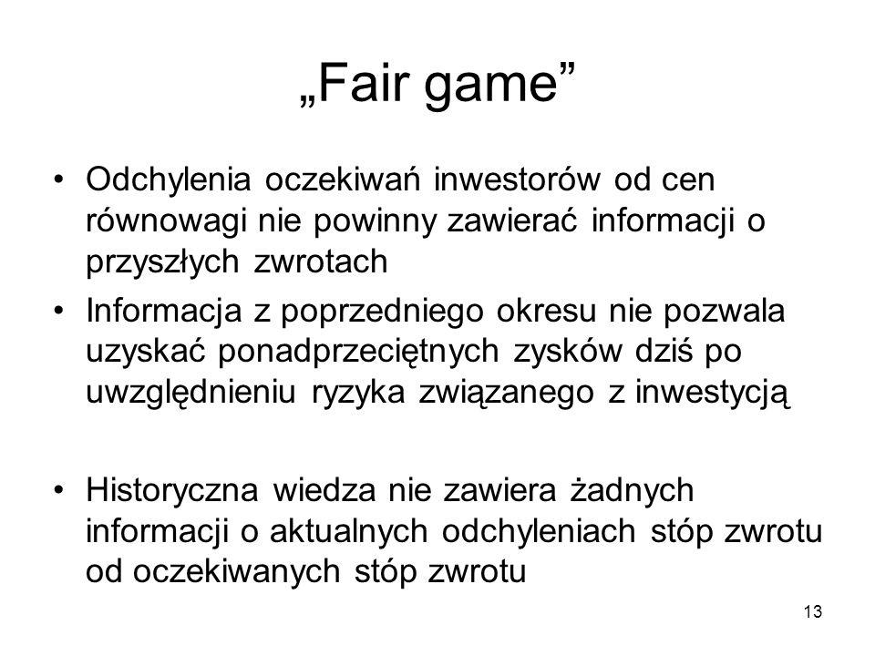 13 Fair game Odchylenia oczekiwań inwestorów od cen równowagi nie powinny zawierać informacji o przyszłych zwrotach Informacja z poprzedniego okresu n
