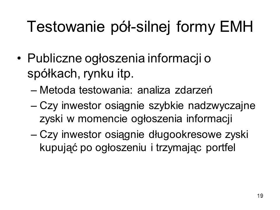 19 Testowanie pół-silnej formy EMH Publiczne ogłoszenia informacji o spółkach, rynku itp. –Metoda testowania: analiza zdarzeń –Czy inwestor osiągnie s