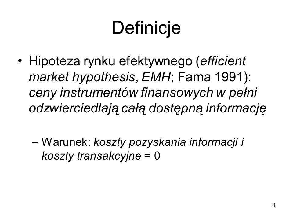 4 Definicje Hipoteza rynku efektywnego (efficient market hypothesis, EMH; Fama 1991): ceny instrumentów finansowych w pełni odzwierciedlają całą dostę