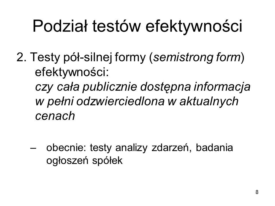 8 Podział testów efektywności 2. Testy pół-silnej formy (semistrong form) efektywności: czy cała publicznie dostępna informacja w pełni odzwierciedlon