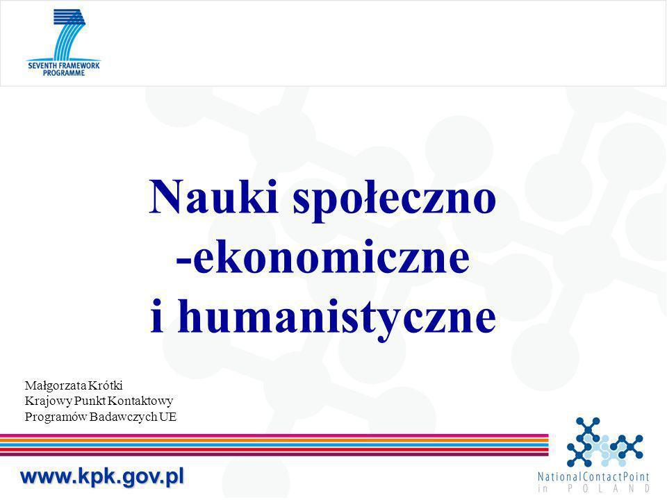 Małgorzata Krótki Krajowy Punkt Kontaktowy Programów Badawczych UE www.kpk.gov.pl Nauki społeczno -ekonomiczne i humanistyczne