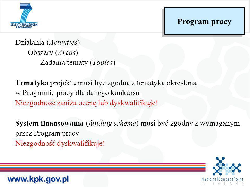 Działania (Activities) Obszary (Areas) Zadania/tematy (Topics) Tematyka projektu musi być zgodna z tematyką określoną w Programie pracy dla danego kon