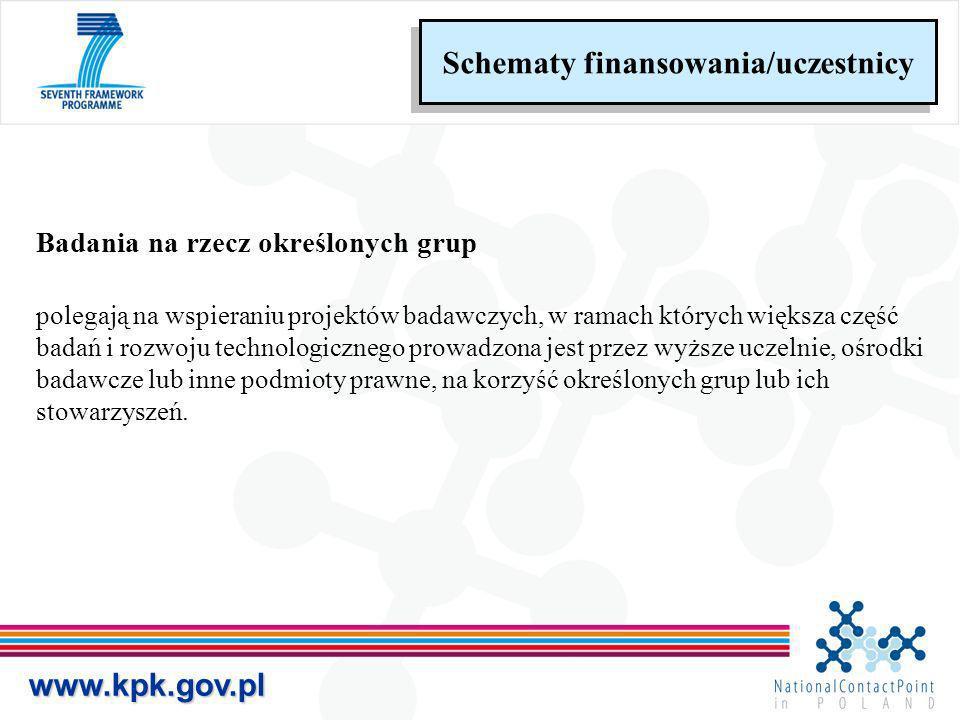 www.kpk.gov.pl Schematy finansowania/uczestnicy Badania na rzecz określonych grup polegają na wspieraniu projektów badawczych, w ramach których większ