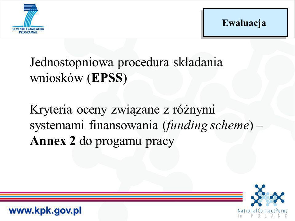 www.kpk.gov.pl Ewaluacja Jednostopniowa procedura składania wniosków (EPSS) Kryteria oceny związane z różnymi systemami finansowania (funding scheme)