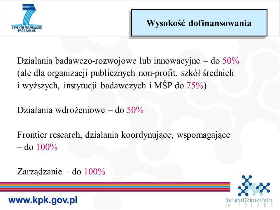 www.kpk.gov.pl Działania badawczo-rozwojowe lub innowacyjne – do 50% (ale dla organizacji publicznych non-profit, szkół średnich i wyższych, instytucj
