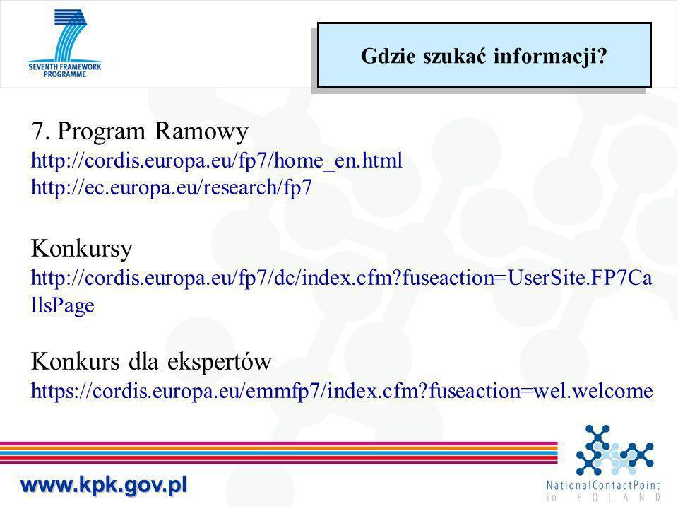 www.kpk.gov.plwww.kpk.gov.pl 7. Program Ramowy http://cordis.europa.eu/fp7/home_en.html http://ec.europa.eu/research/fp7 Konkursy http://cordis.europa