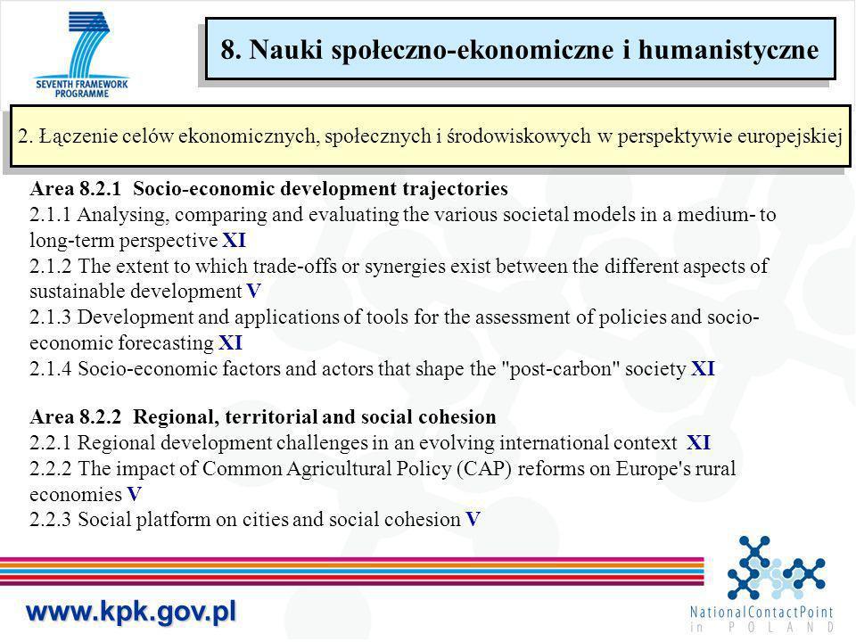 www.kpk.gov.pl 2. Łączenie celów ekonomicznych, społecznych i środowiskowych w perspektywie europejskiej Area 8.2.1 Socio-economic development traject