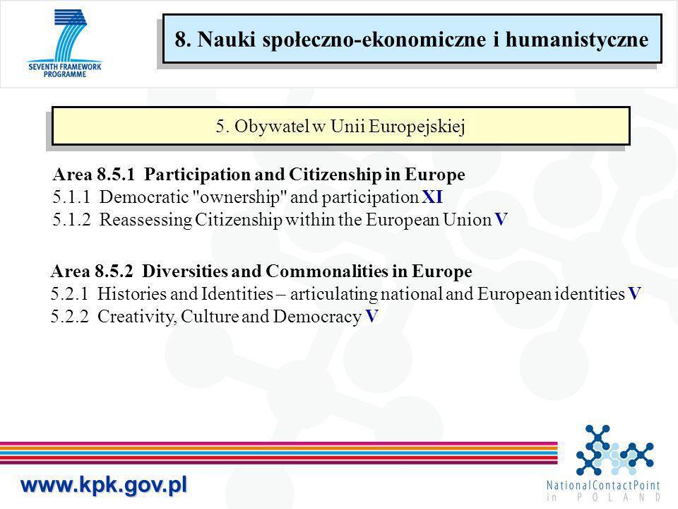 www.kpk.gov.pl 5. Obywatel w Unii Europejskiej Area 8.5.1 Participation and Citizenship in Europe 5.1.1 Democratic